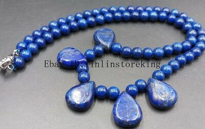 New 6mm Natural Lapis Lazuli Round Beads Square Pendant Gemstone Necklace 18/'/'