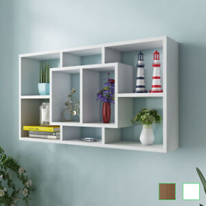 Image Is Loading VidaXL Floating Wall Display Shelf 8 Compartments Hanging