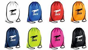 Personalised Boys Waterproof Sports Drawstring Swim Bag or PE Kit Bag