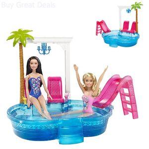 Playset Pink Glam Set Summer Beach Swimming Pool Barbie Doll Slide Gift Toy Set Ebay
