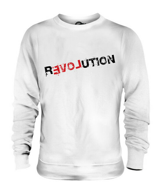 LOVE REVOLUTION UNISEX PRINTED FASHION SWEATER PEACE HIPSTER SWAG ROLLED SLEEVES