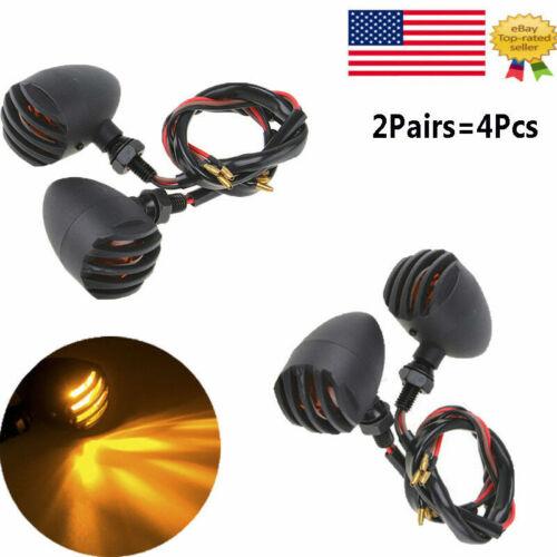 4PC Motorcycle CNC Turn Signals Bullet Blinker Amber Indicators Light Amber 12V