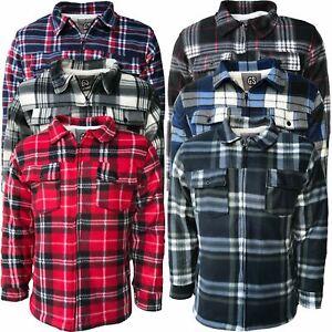 Mens-Fur-Sherpa-Fleece-Lined-Thick-Heavy-Lumberjack-Work-Jacket-Shirt-Check-Warm