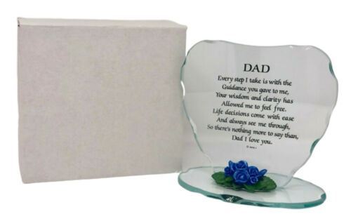 Glass Heart Plaque Cute Gift for Dad Beautiful Poem /& Porcelain Flower Frame New