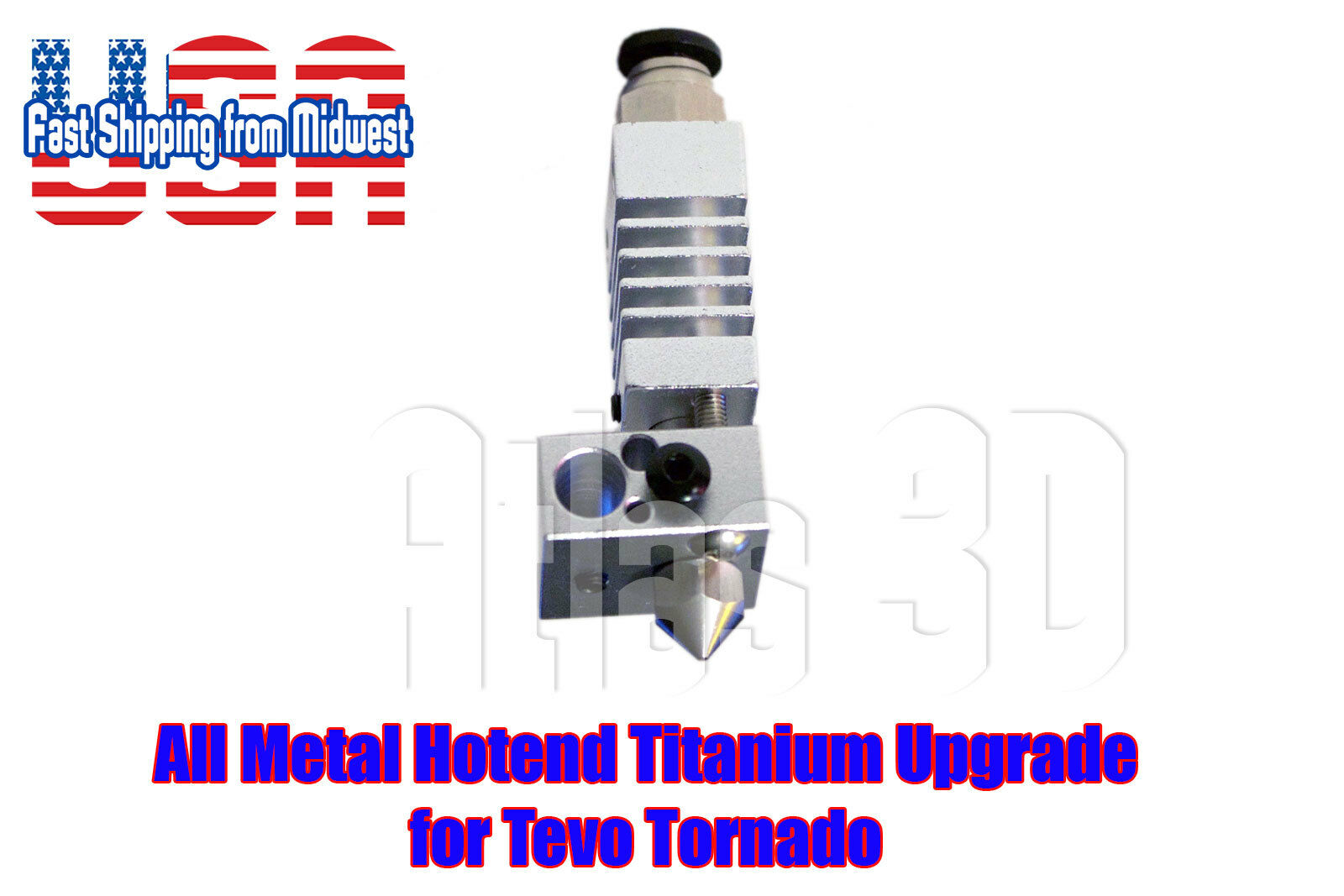 Tevo Tornado All Metal Hotend with Titanium Heat Break, 1.75, 3D Printer, 24v