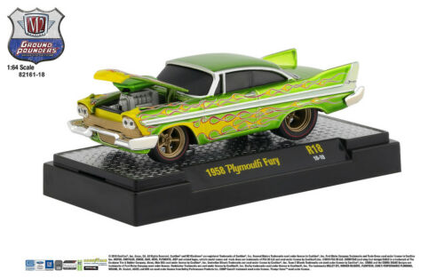 M2 Machines Ground Pounder R18 1958 Plymouth Fury  Green with Flames