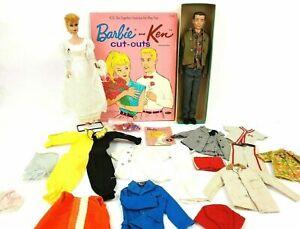 Vintage-1960-039-s-Blonde-Ponytail-Barbie-w-Vintage-Ken-amp-Clothing-Lot-w-Cut-Outs