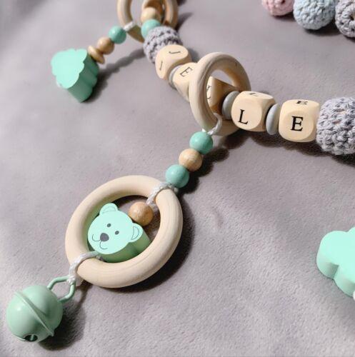 Kinderwagenkette  Mit Namen Set ★ Häckelperle ★ Teddy ★rosa