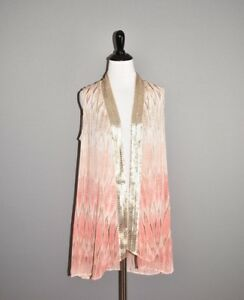 Pink Trim Medium 109 Chico's Vest Sheer Calliandra Sequin 1 nye Python fxP8qnTY