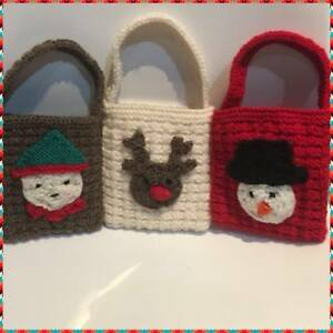 KNITTING-PATTERN-Christmas-Gift-Bags-Snowman-Reindeer-Elf-decorations