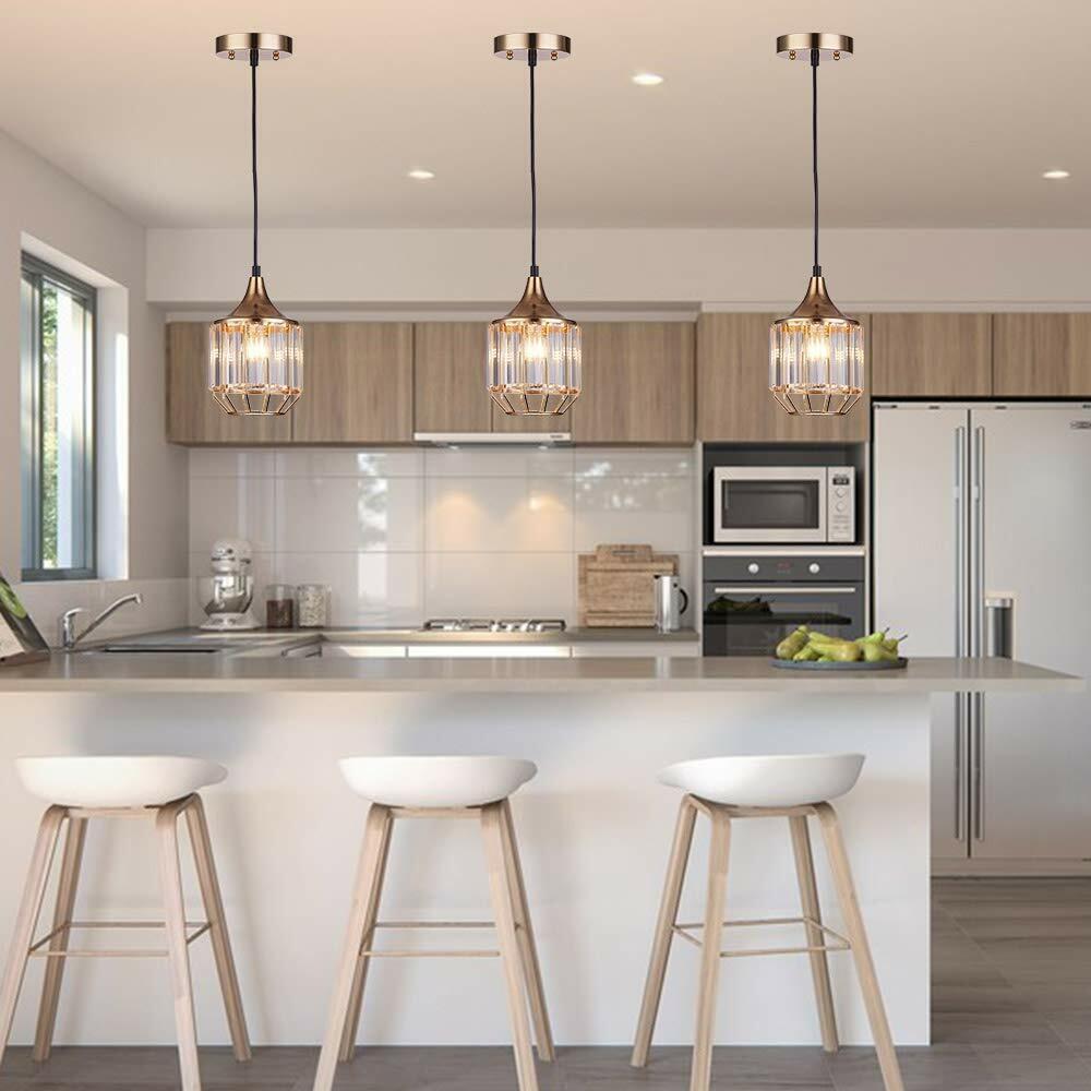 3 Crystal Pendant Lighting Ceiling Lights Kitchen Island Dining Room Bar  Gold