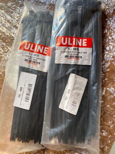 "4 ULINE Black UV Stabilized Nylon Cable Ties 14"" 120 LB S-5835 100 pcs per pack"