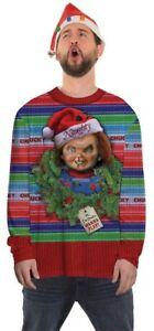 Chucky-Ugly-Xmas-Men-039-s-Costume-Sweater-T-shirt-Photorealistic-Print-Christmas