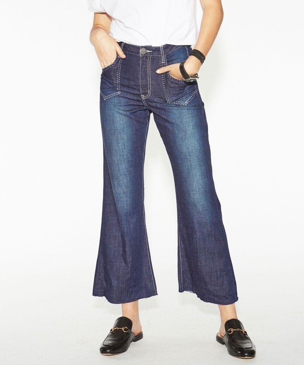 get new sold worldwide shopping One Teaspoon Runaway Cropped Flares Sz 28in Raw Hem Dark Wash Jeans