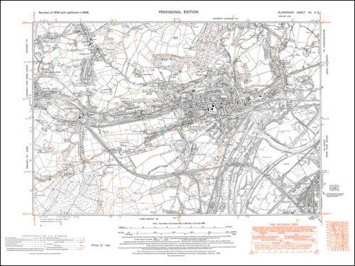 Skewen old map Glamorgan 1948 Neath Abbey 15SE repro Wales