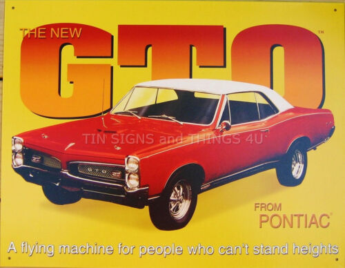 GTO Pontiac Flying Machine TIN SIGN muscle car vtg 67 red garage metal decor 495