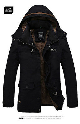 Men's Warm Jackets Parka Outerwear Fur Lined Winter Thicken Long Coat Hooded New