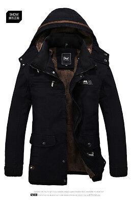 Men's Warm Jackets Parka Outerwear Fur Lined Winter Thicken Long Coat Hooded New