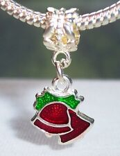 Red Bells Green Christmas Holiday Dangle Bead for Silver European Charm Bracelet