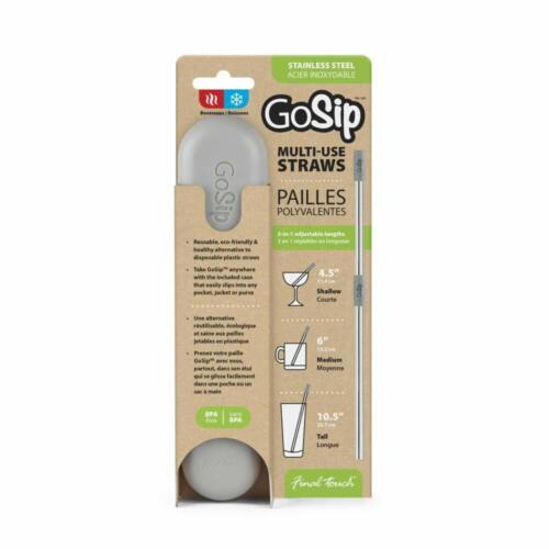 GOSIP Réutilisable Métalliques En Acier Inoxydable Pliable Paille Avec Étui /& Brosse
