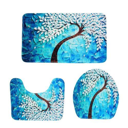 3pcs Tree Flowers Printed Non Slip Floor Carpet Bathroom Bath Mats Pad Lid Set