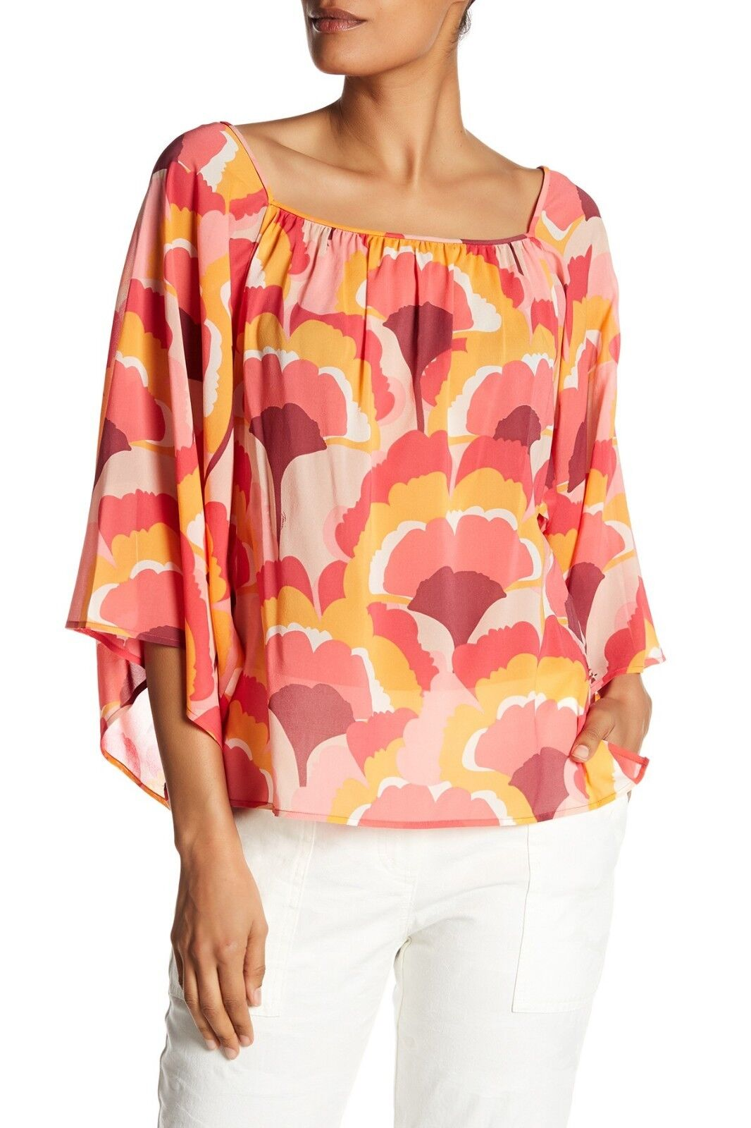 NWT- Trina Turk Ginkoba Printed Silk 3 4 Sleeve Blouse Top, Multi - Größe Medium