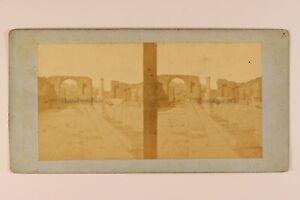 Italia Pompei c1865 Foto Stereo Vintage Albumina n6