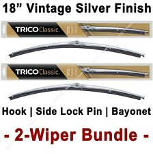 "2-Wiper Bundle: TRICO Classic Wiper Blades 18"" Vintage Silver Finish - 33-183 x2"