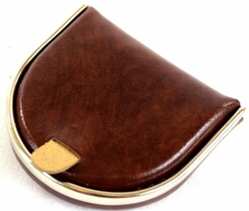 Wallet with Silver Metal Rim Holder Coin Tray Mens Leather Money