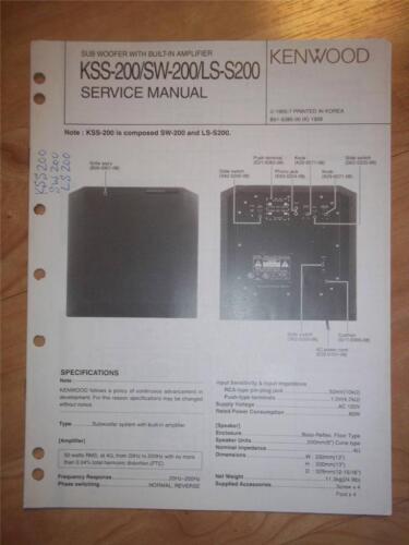 Kenwood Service Manual~KSS-200//SW-200//LS-200 Sub Woofer~Original Repair
