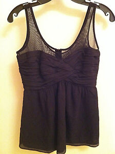 BURBERRY-LONDON-WOMEN-039-S-BLACK-CRINKLE-TANK-WITH-MESH-DRESSY-TOP-SIZE-4