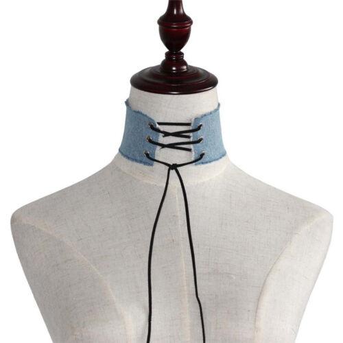 Collar Gargantilla Mujer Denim Con Cordones Punk Gótico tatuaje encanto collar Boho Regalo de Reino Unido