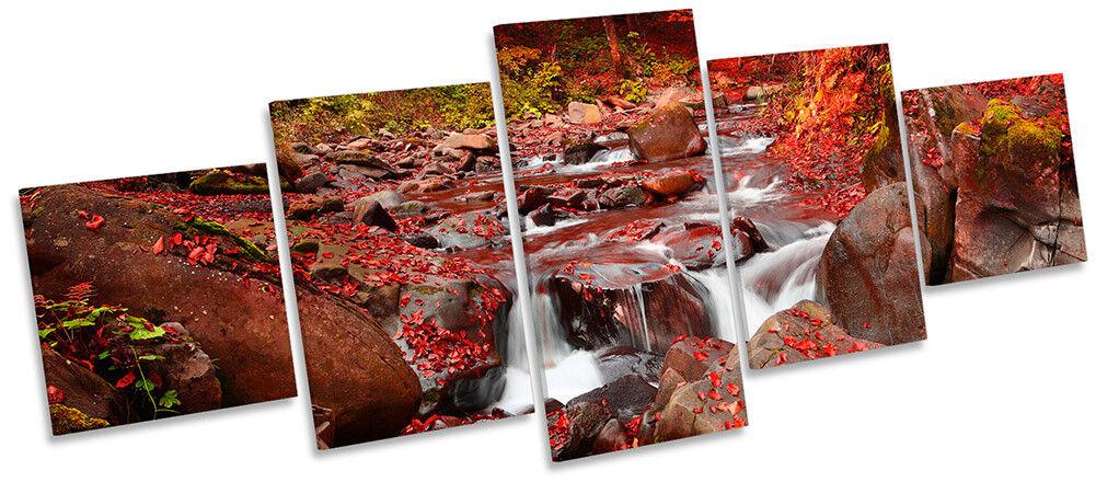 Rouge Paysage Rivière Forêt Photo Toile Wall Art Cinq Panneau