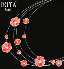 Luxus Statement Halskette IKITA Paris Collier 4 Kabel-Kette Emaille Blumen