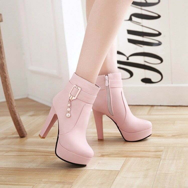 Women's Sexy Ankle Boots High Heels Fashion Party Platform shoes Side zip Size 8