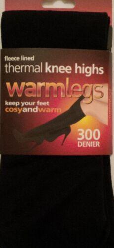9 X rodilla alta calcetines Pop Térmica Forro Polar Negro 300 Denier warmlegs