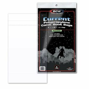 100-BCW-Current-Modern-Age-Comic-RESEALABLE-Bags-Poly-6-7-8-034-x-10-1-2-034-2-034-Flap