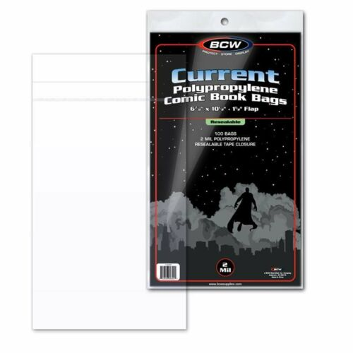 """100 BCW Current Modern Age Comic RESEALABLE Bags Poly 6 7//8/"""" x 10 1//2/"""" 2/"""" Flap"""