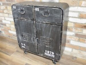 Credenza Industrial Fai Da Te : Industrial style black 2 door cabinet on wheels rustic storage