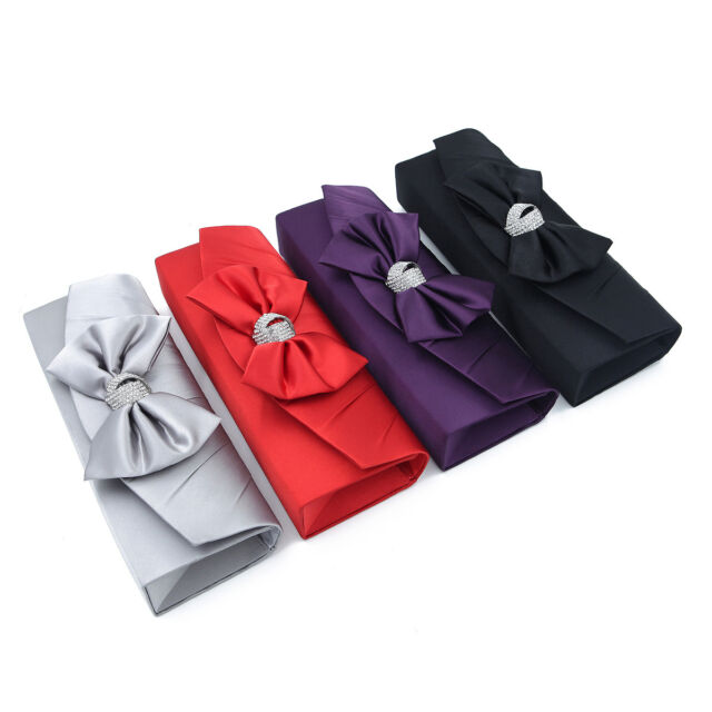 Elegant Satin Flap Bow Crystal Clutch Evening Bag Diff Colors Avail