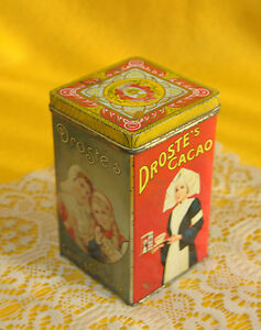 VINTAGE-DROSTE-S-TIN-CACAO-amp-CHOCOLATE-HAARLEM-HOLLAND-ADVERTISING