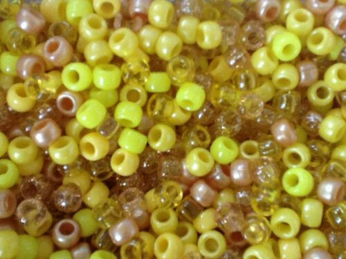 DUMMY CLIPS,HAIR BRADING 100 500 1000 or 5000 Mixed Yellow Pony Beads