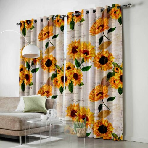 2 Panel Sunflowers Window Curtains Indoor Drapes Curtain for Living Room Decor