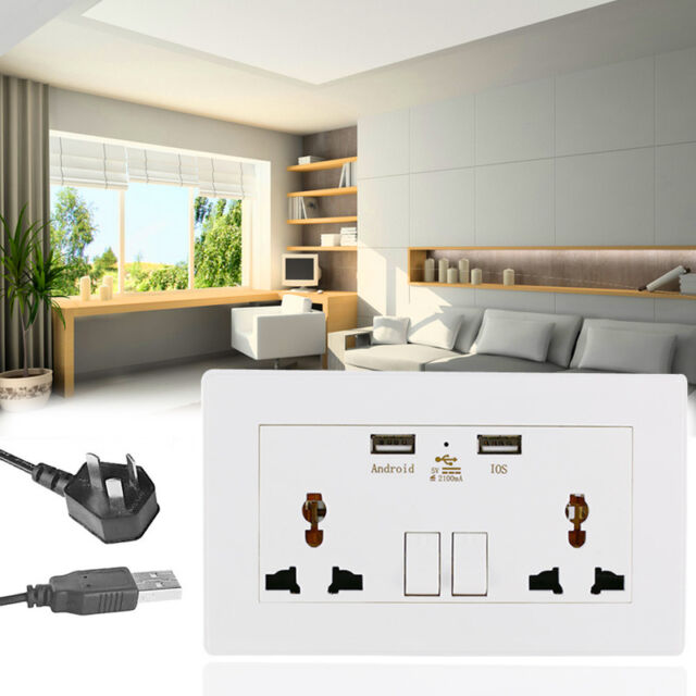 Universal Dual 2 USB Electric Wall Power Socket Outlet Adapter Plug-Plate-