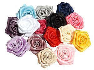 5-x-Coloured-Satin-Rose-1-5-inch-Appliques-For-Dress-Making-Wedding-Sew-Glue-On