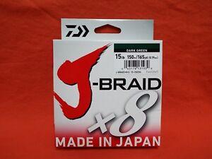 Braided Fishing Line 50#  330 yard Daiwa J-Braid Grand x8 Dark Green