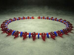 Vintage-Bohemian-Red-amp-Blue-Molded-Glass-Grape-Bead-Necklace-Rare