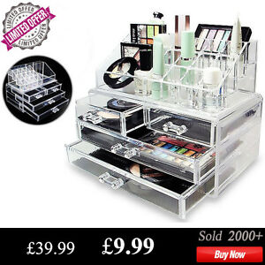 Clear Acrylic Cosmetic Makeup Jewelry Organizer Drawers Display Box