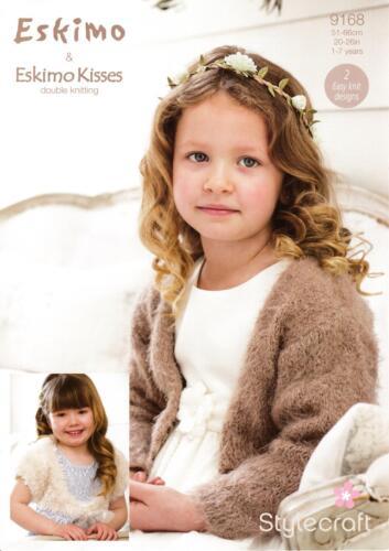 Stylecraft 9168 Knitting Pattern Girls Shrugs in Eskimo Kisses and Eskimo DK