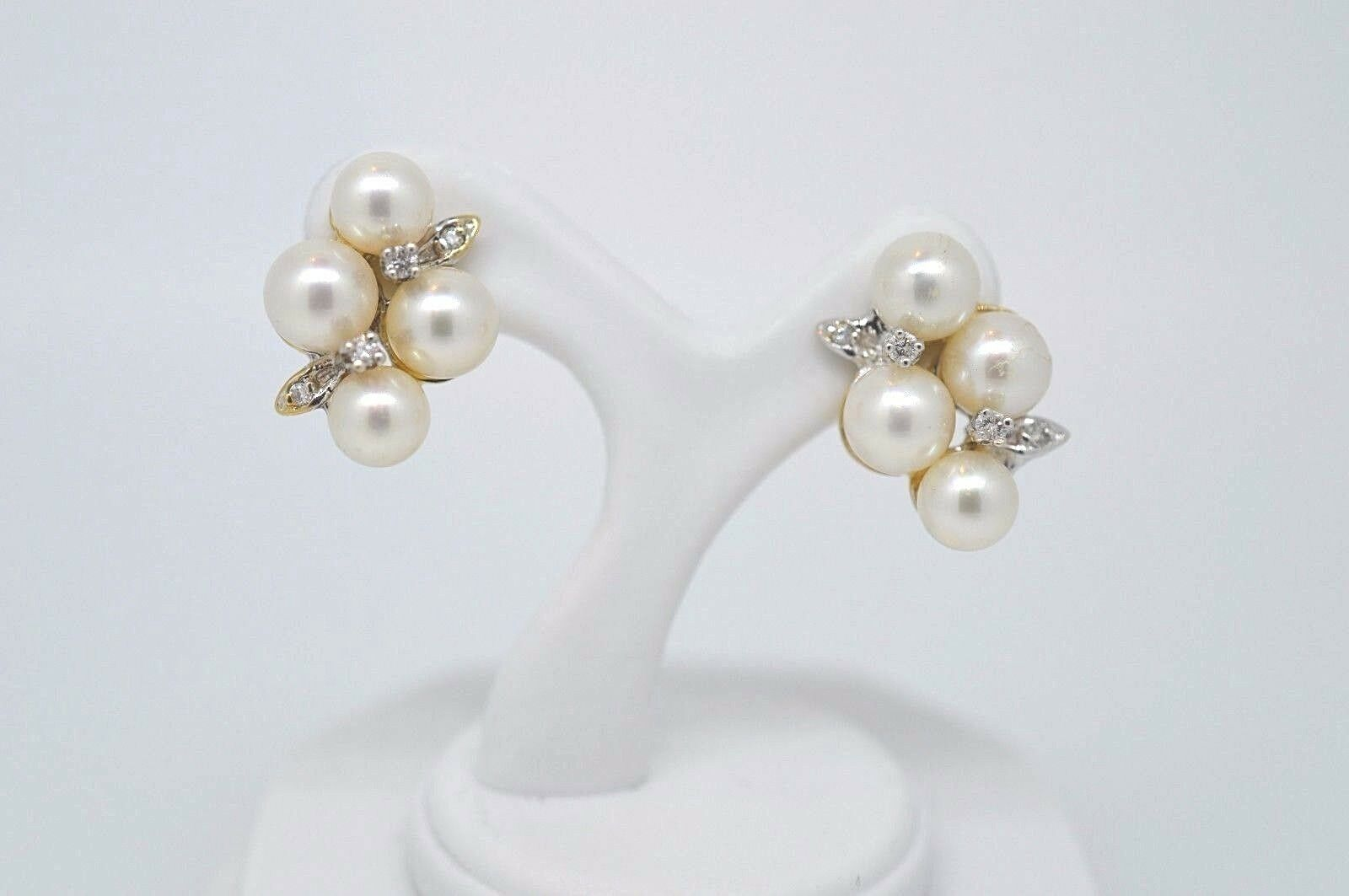 14k Yellow gold & Pearl Cluster Earrings with Diamonds